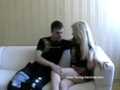Blondie kisses a cock